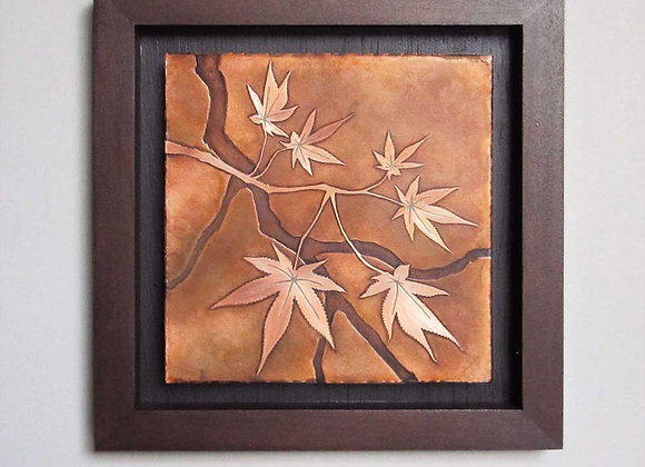 Japanese Maple Branch Etched Copper Wall Art with Hardwood Box Frame