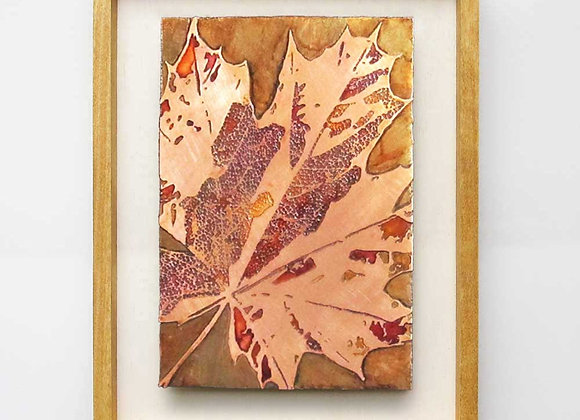 Fall Leaf Etched Copper Wall Art with Hardwood Farmhouse Frame