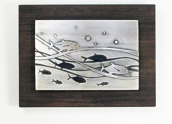Silver Ocean Currents Etched Nickel Wall Art with Hardwood Block Frame