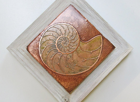 Nautilus Spiral Etched Metal Wall Art with Rustic Cedar Frame