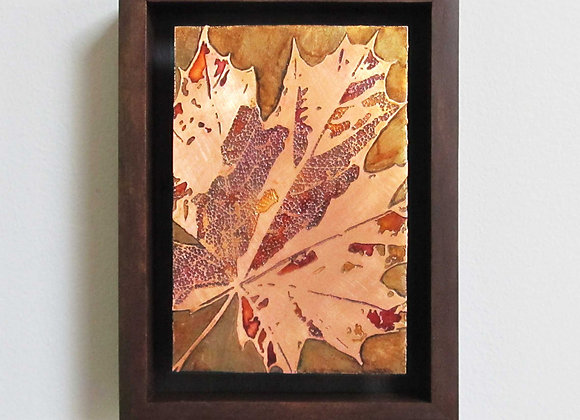 Fall Leaf Etched Copper Wall Art with Hardwood Box Frame