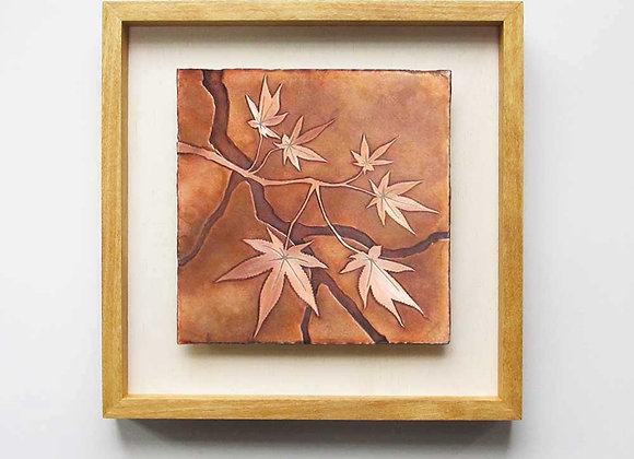 Japanese Maple Branch Etched Copper Wall Art with Hardwood Farmhouse Frame