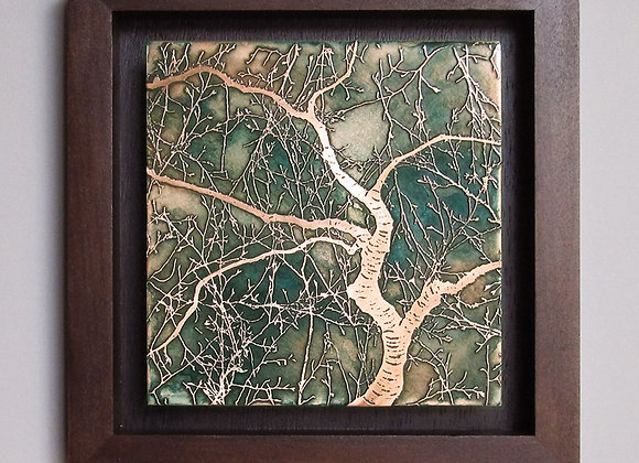 Japanese Cherry Tree Etched Copper Wall Art with Hardwood Box Frame