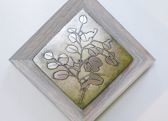 Silver Dollar Branch Etched Metal Wall Art with Rustic Cedar Frame