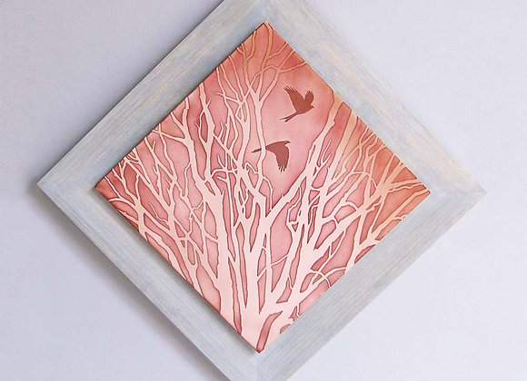 Fall Forest Etched Copper Wall Art with Hardwood Flat Frame (Large)