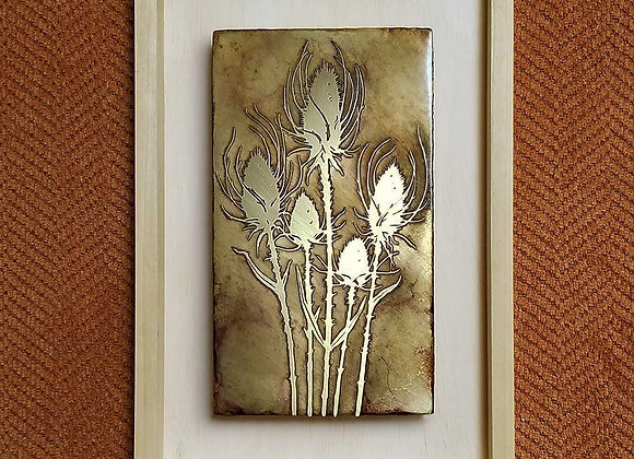 Wild Thistles Etched Brass Wall Art with Hardwood Farmhouse Frame
