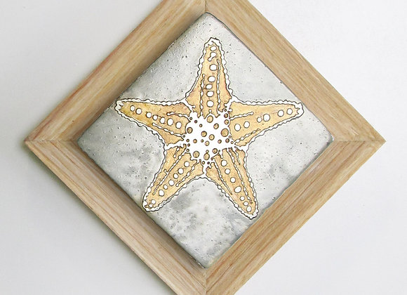 Starfish (Brown Starfish) Etched Metal Wall Art with Rustic Cedar Frame