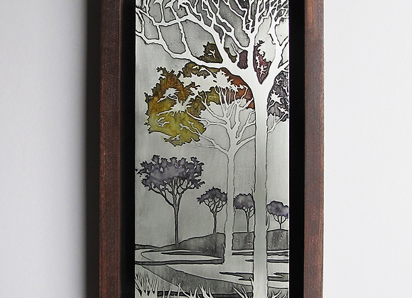 Path Under the Trees Etched Nickel Wall Art with Hardwood Box Frame