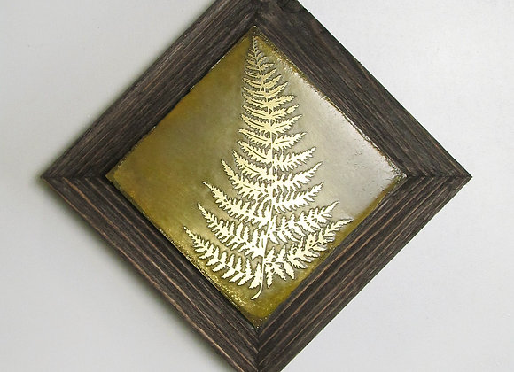 Fern Frond Etched Metal Wall Art with Rustic Cedar Frame