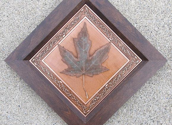 Celtic Maple Leaf Etched Copper with Hardwood Traditional Frame