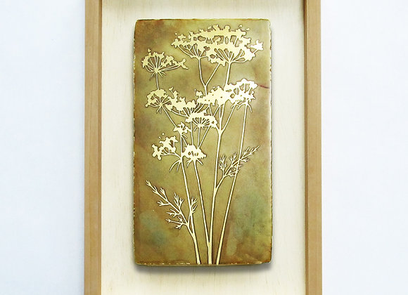 Queen Anne's Lace Etched Brass Wall Art with Hardwood Farmhouse Frame