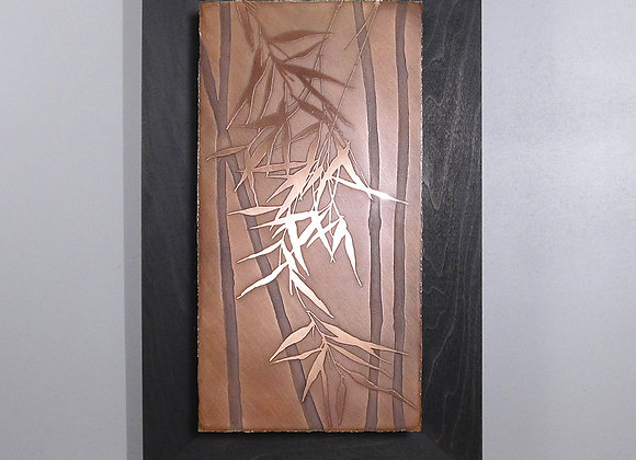 Japanese Bamboo Branch Etched Copper Wall Art with Hardwood Frame