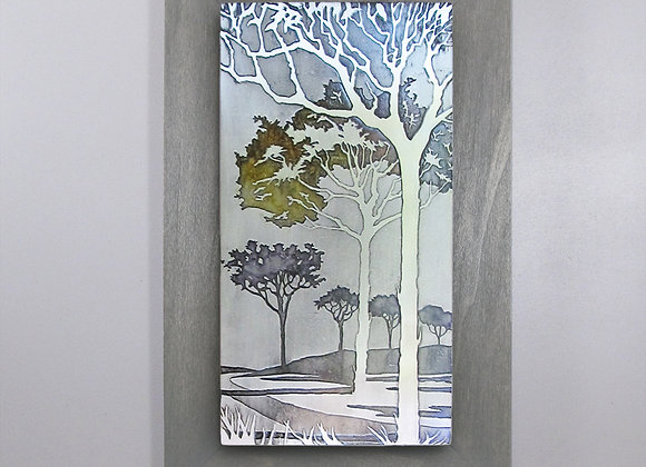 Path Under the Fall Trees Etched Nickel Wall Art with Hardwood Flat Frame