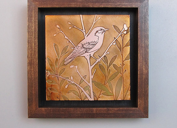 Bird in a Field Etched Copper with Hardwood Box Frame