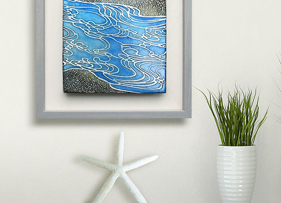 Abstract Ocean Waves Etched Nickel Wall Art with Hardwood Farmhouse Frame