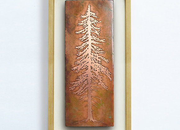 Tall Pine Etched Copper Wall Art with Hardwood Farmhouse Frame