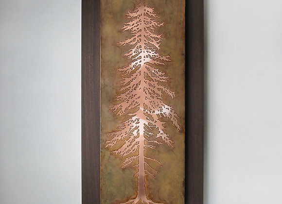 Small Tall Pine Etched Metal Wall Art with Hardwood Flat Frame