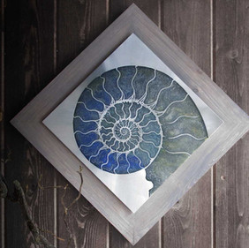 Silver Nautilus Etched Nickel Wall Art