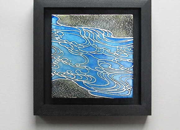 Abstract Ocean Waves Etched Nickel Wall Art with Hardwood Box Frame