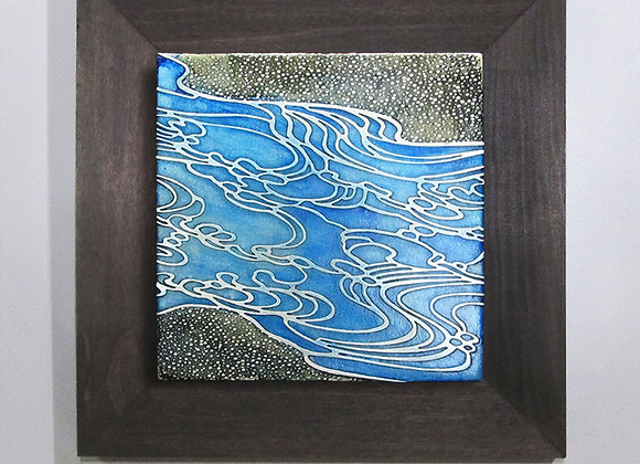 Abstract Ocean Waves Etched Nickel with Hardwood Flat Frame