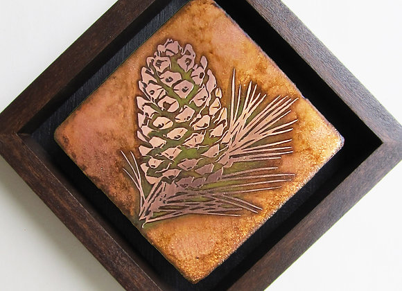 Pinecone Etched Metal Wall Art with Hardwood Box Frame