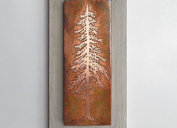 Tall Pine Tree Etched Metal Wall Art with Rustic Cedar Frame