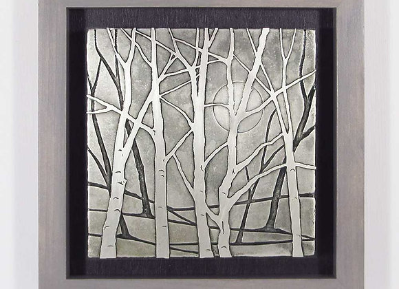 Moonlit Trees Etched Nickel Wall Art with Hardwood Box Frame