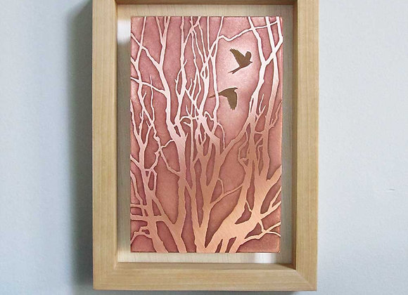 Winter Forest Etched Copper Wall Art with Hardwood Box Frame (Small)