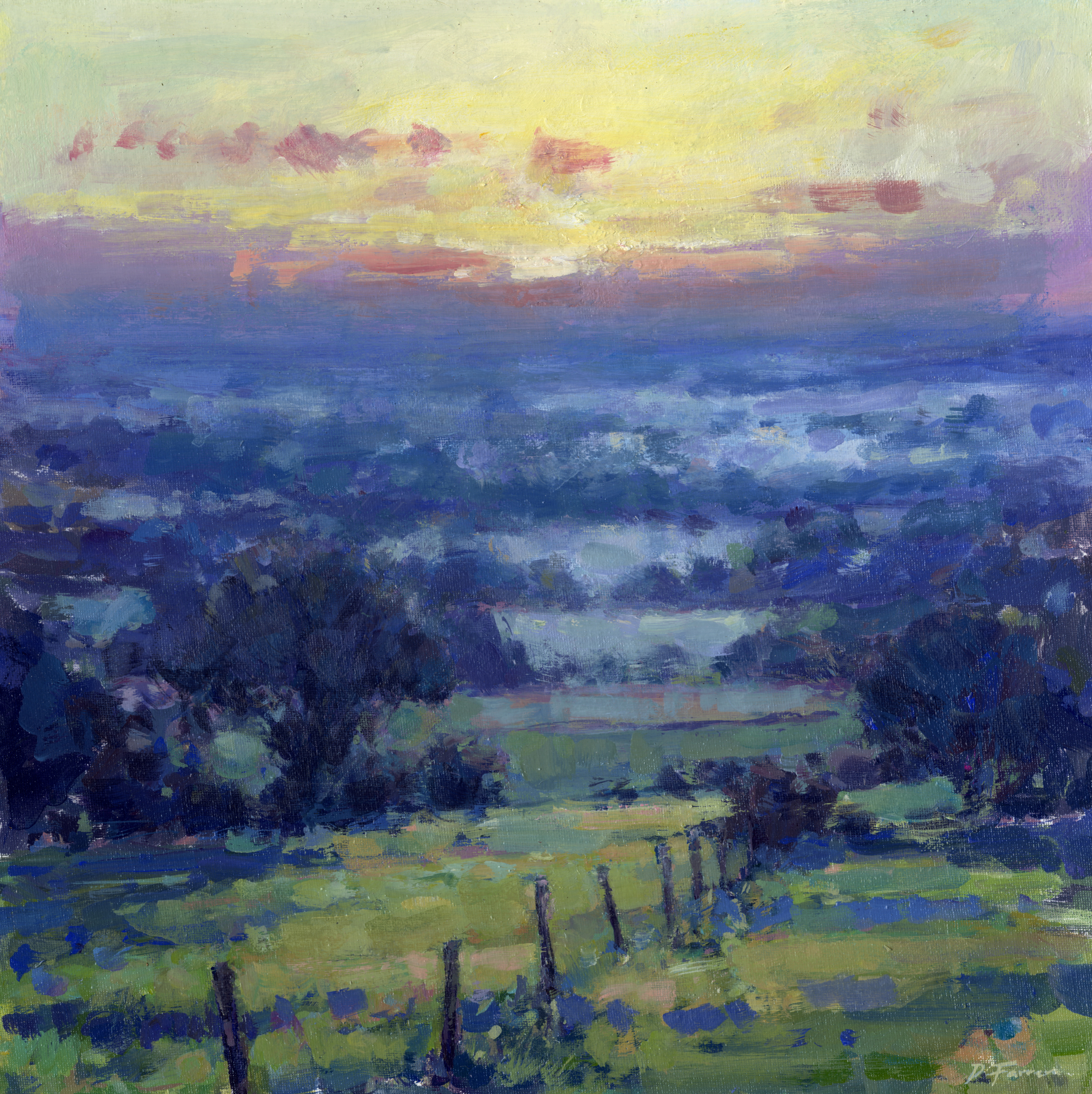 Late Summer Sunrise  40 x 40 cm  oil on