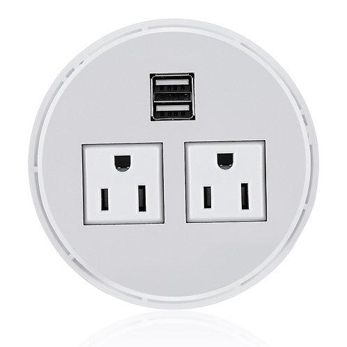 Desktop Power Grommet Hub 2 Power Socket & Dual USB Ports For Office Desk Table
