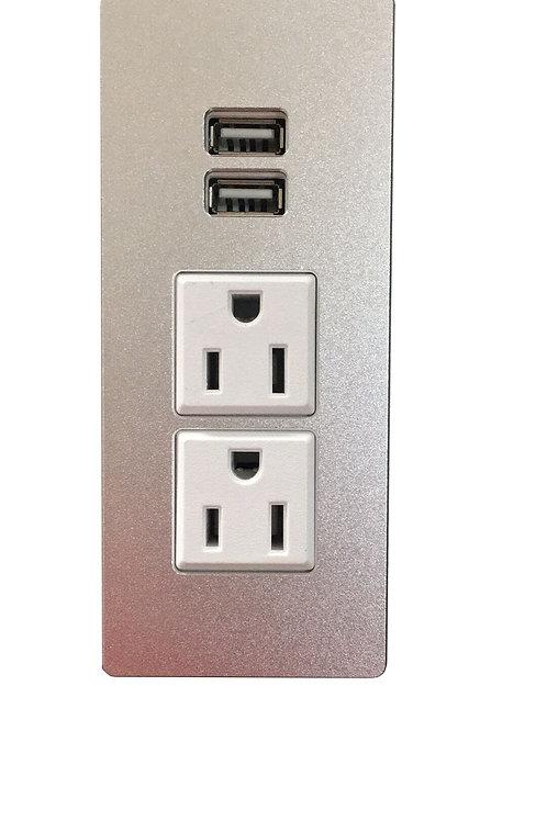 Cabinet Insert Power Socket Desk Outlet Power Grommet 2-US Outlet & 2-USB Ports