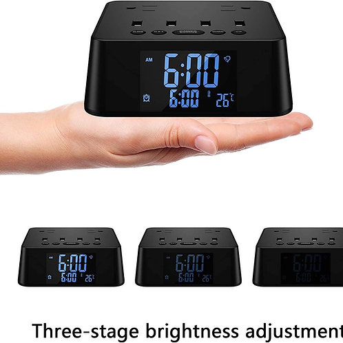 Sussex Alarm Clock Charger Power Strip with 4 USB Ports and 2 AC Outlet