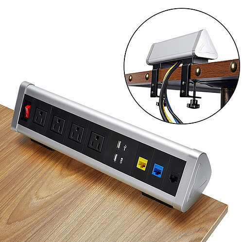 Kungfuking Removable Clamp Desktop Power Station 4-Outlet Power Strip Surge Prot