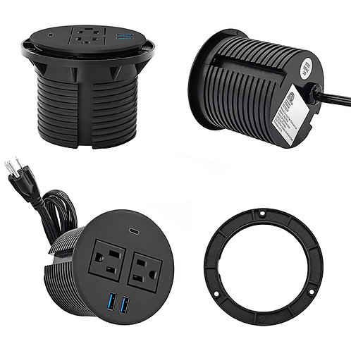 Recessed Round Power Outlets with 2 AC Plugs and 2 USB port &1 type C