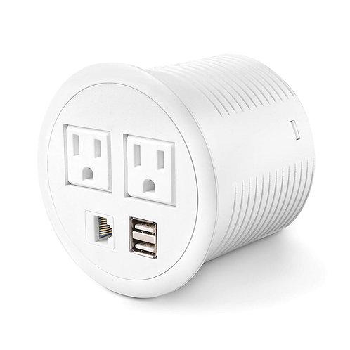 Power Grommet 2 Outlet 2 USB 1 RJ45 Ports