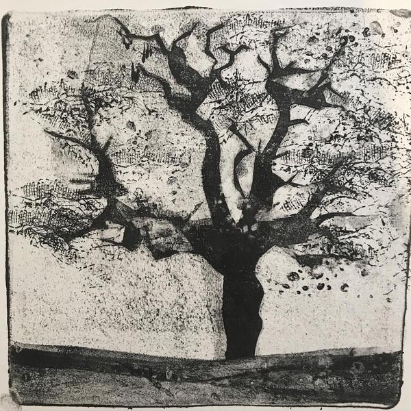 Monoprint using gelplate. 15x15cm.