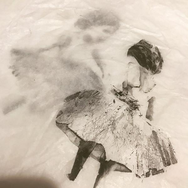 Monoprint using gelplate on tissue paper.