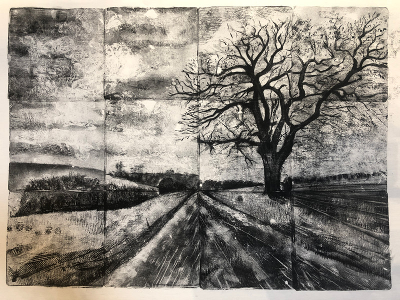 Monoprint using gelplate. 45x60cm.