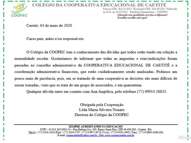 Comunicado 04/05/20