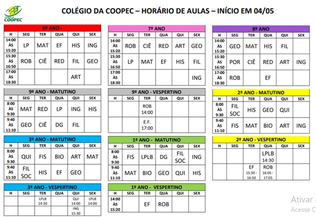 Agenda de aulas a partir do dia 04/05/2020