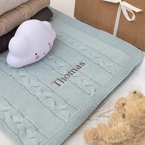 Aqua Chunky Cable Baby Blanket