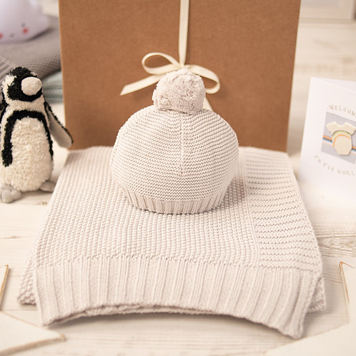 Arctic Grey Moss Baby Blanket & Hat Set