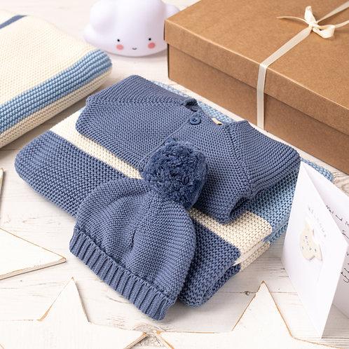Candy Stripe Baby Boy Storm Blue Gift Set