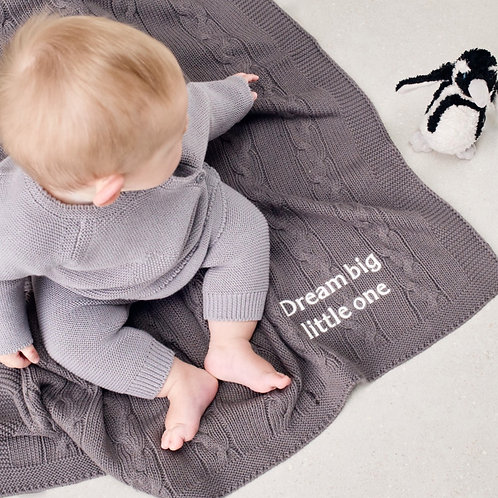 Toffee Moon Charcoal Chunky Cable Personalised Baby Blanket with Cream Embroidered name