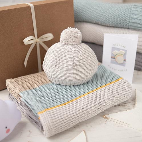 Arty Colour Block Baby Blanket & Hat Set