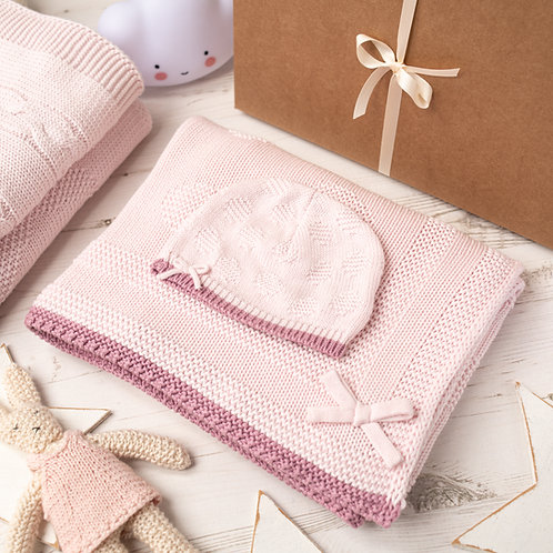 Petal Pink Spot & Bow Baby Blanket & Hat Set