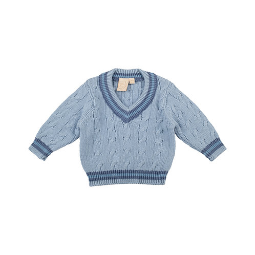 Personalised Blue Grey Baby Cricket Jumper with Blue Stripes