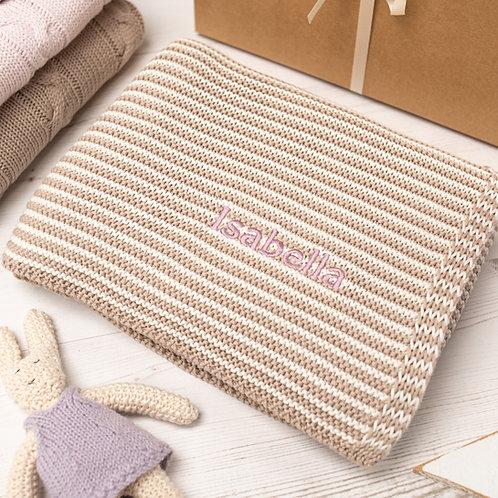 Fudge and Cream  Mini Stripe Personalised Baby Blanket