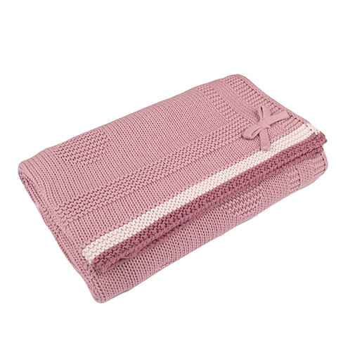 Dawn Pink Spot & Bow Baby Blanket