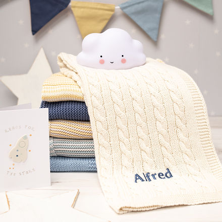 2021 Toffee Moon Cream Cable Personalised Baby Blanket with Dark Blue Embroidered Name_.jp